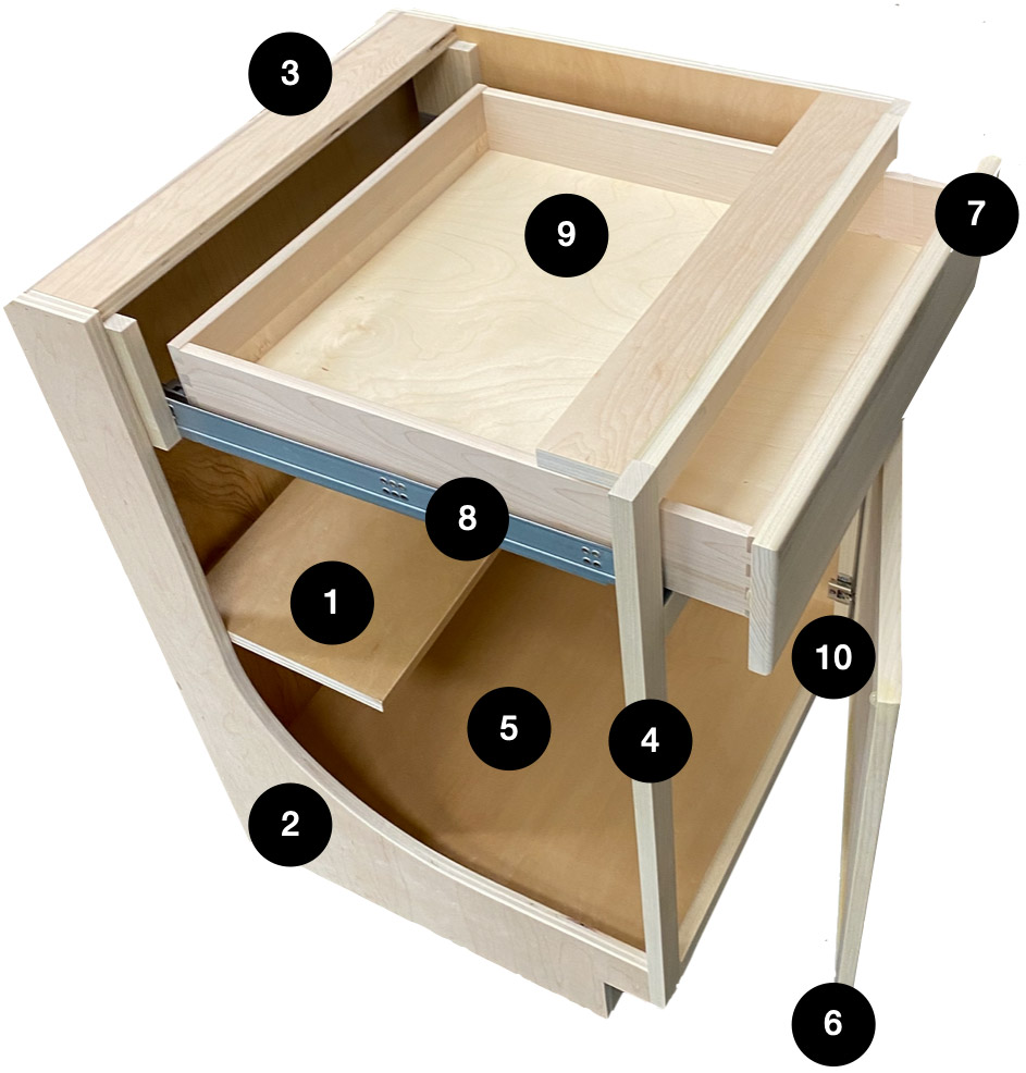 Cut away cabinet showing details